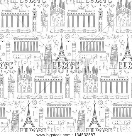 Europe Travel Seamless Pattern