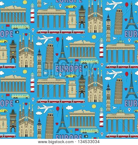 Europe Travel Coloured Seamless Pattern
