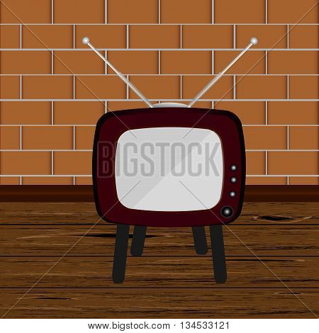 Retro TV in the wooden case, vector illustration