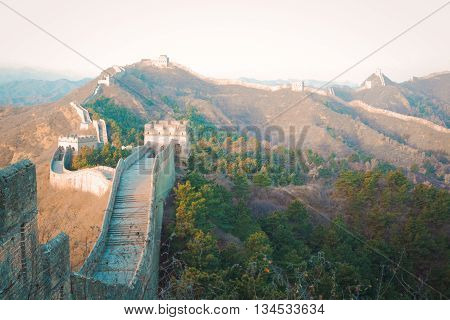 Ancient great wall of China in winter