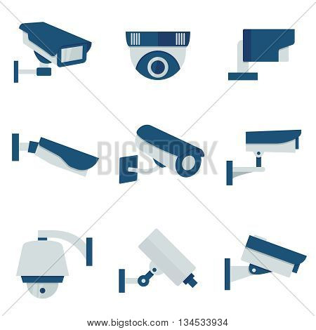 CCTV security video camera vector flat icons set. Safety system cctv and surveillance with cctv for protection illustration