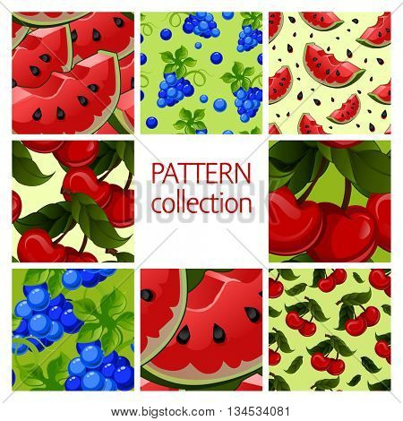 Fruit patterns seamless collection. Red Watermelon,blue grapes, fresh juicy cherry. Vector illustration.