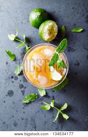 Peach Aqua Fresca with Lime Juice and Mint