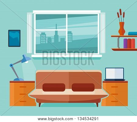 Home office interior with sofa and laptop. Freelancer workplace. Interior room with laptop and sofa, work interior office space. Flat vector illustration
