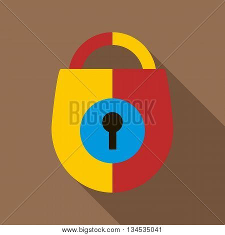 Padlock icon in flat style with long shadow. Close symbol