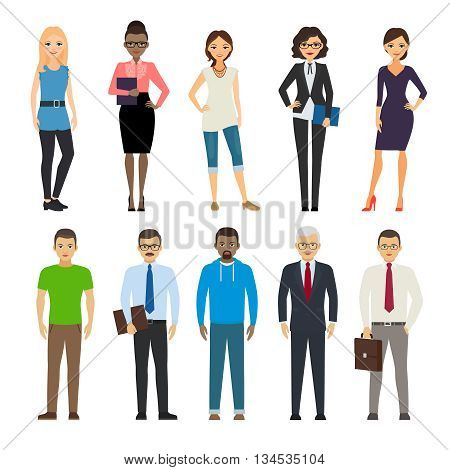 Business dressed and casual dressed people standing on white background. Vector illustration