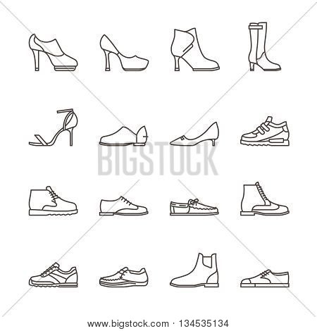 Shoes line vector icons. Sneakers and women shoes, footwear linear icons. Vector illustration