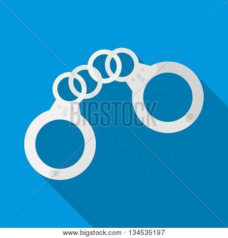 Handcuffs icon in flat style with long shadow. Capture symbol