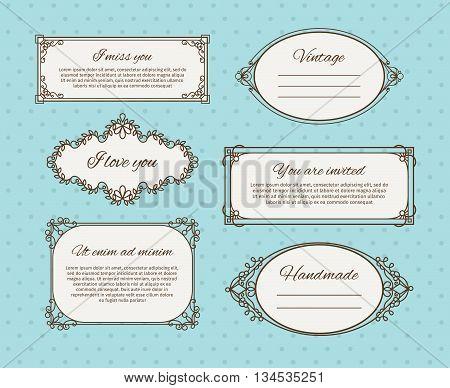 Retro frames or vintage frames with text. Black line frame icons on blue background. Vector illustration