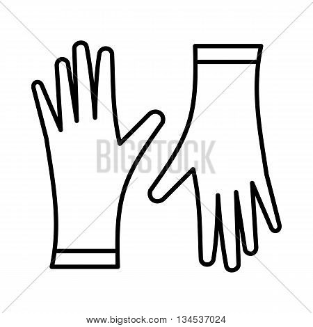 Protective gloves icon in outline style isolated on white background