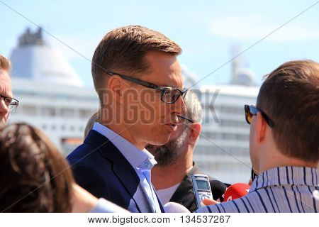 HELSINKI, FINLAND - JUNE 15, 2015: Finnish politician Alexander Stubb meets representatives of the media in Etelaranta Helsinki.