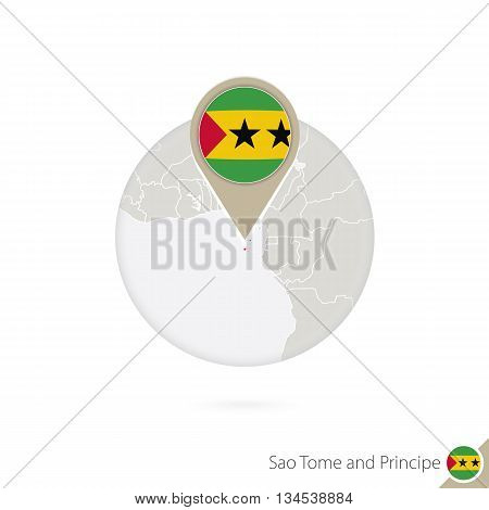 Sao Tome And Principe Map And Flag In Circle.