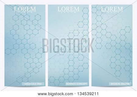 Set of modern vector flyers. Abstract background with molecule structure DNA and neurons. Medicine, science and technology banner, card, web, certificate. Abstract DNA. Vector illustration.