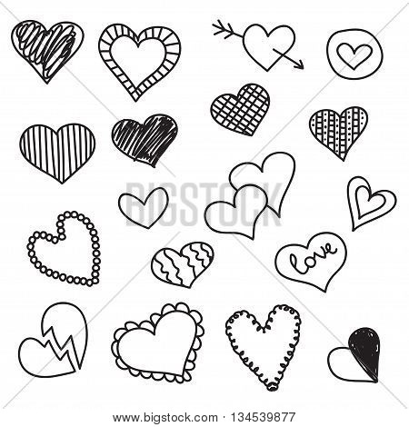 Doodle heart icons set hand drawn vetor illustrations.