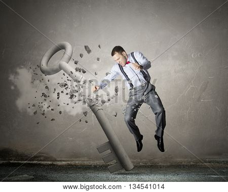 Man break key