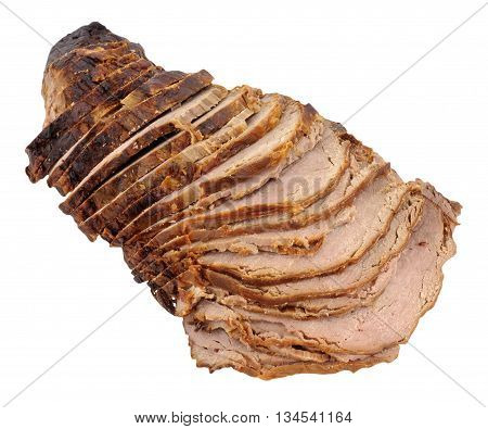 Carved roast beef joint isolated on a white background
