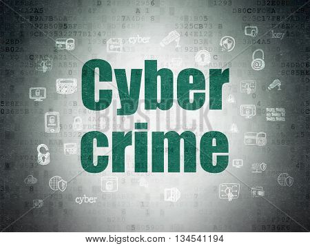 Safety concept: Painted green text Cyber Crime on Digital Data Paper background with  Hand Drawn Security Icons