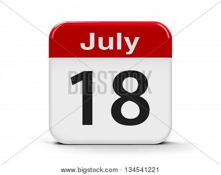 Calendar web button - The Eighteenth of July - Nelson Mandela International Day three-dimensional rendering 3D illustration