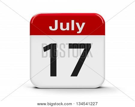 Calendar web button - The Seventeenth of July three-dimensional rendering 3D illustration