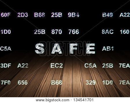 Privacy concept: Glowing text Safe in grunge dark room with Wooden Floor, black background with Hexadecimal Code