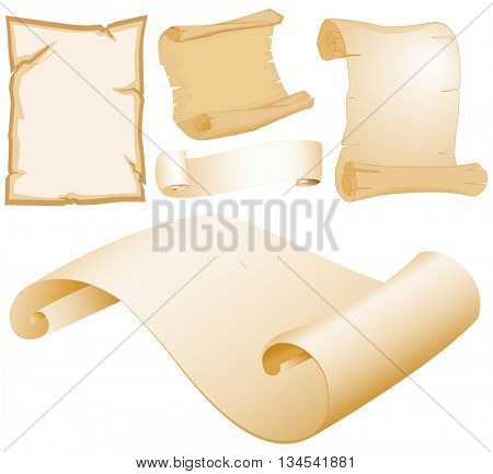 Parchment papers in different designs illustration