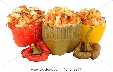 Chicken and rice stuffed roasted sweet peppers isolated on a white background