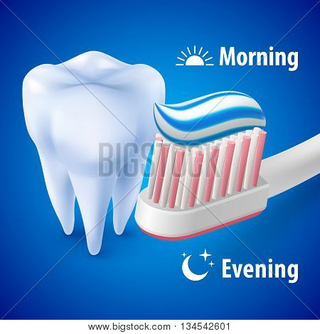 Dental Hygiene Concept with Tooth Toothbrush and Toothpaste