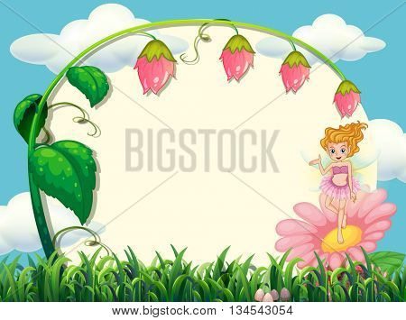 Frame design with fairy and flower illustration