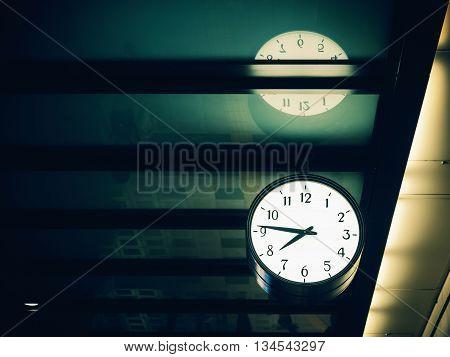 Wall Clock Hang In The Train Station, Wal