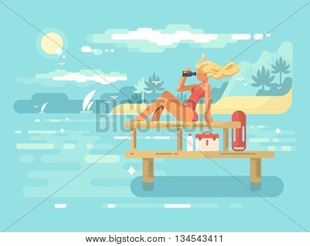 Female Lifeguard looking through binoculars flat vector illustration