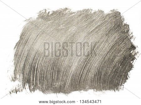 Silver abstract background. Background of brush strokes of acrylic silver paint