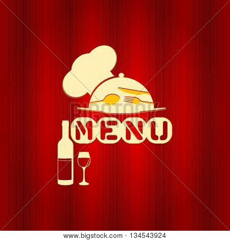 Vector illustration Cover template restaurant menu with a red cap and a plate.