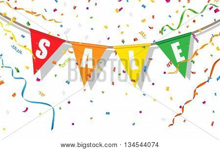 Sale flag with confetti and streamer on white background