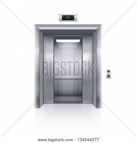 Half Open Chrome Metal Elevator Door on White Background