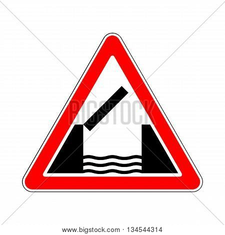 Opening or Swing Bridge Ahead in White Background Sign