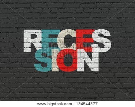 Finance concept: Painted multicolor text Recession on Black Brick wall background