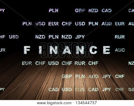 Business concept: Glowing text Finance in grunge dark room with Wooden Floor, black background with Currency