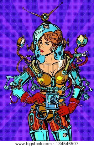 Beautiful futuristic girl in a sexy space suit pop art retro vector. Woman captain astronaut. Science fiction hero female