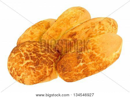 Freshly baked crusty tiger paw bread loaf isolated on a white background