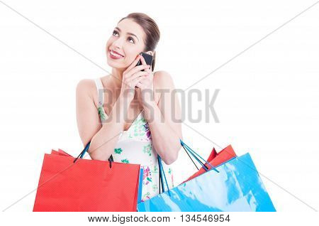 Attractive Lady Shopper At Phone Smiling And Acting Happy