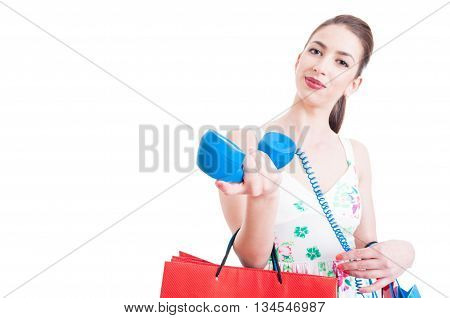 Pretty Lady Shopper Inviting For A Support Call
