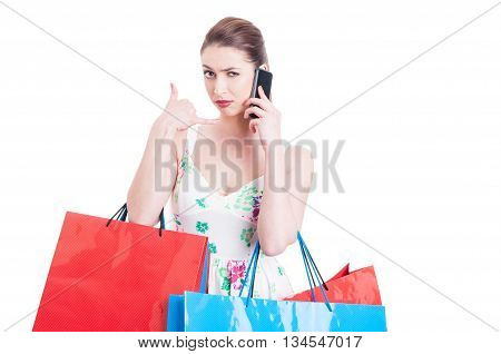 Woman Shopper Looking Mad And Making Call Me Gesture