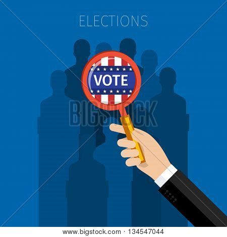 Concept of election. US Presidential election 2016. Flat design, vector illustration.