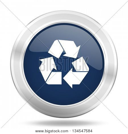 recycle icon, dark blue round metallic internet button, web and mobile app illustration
