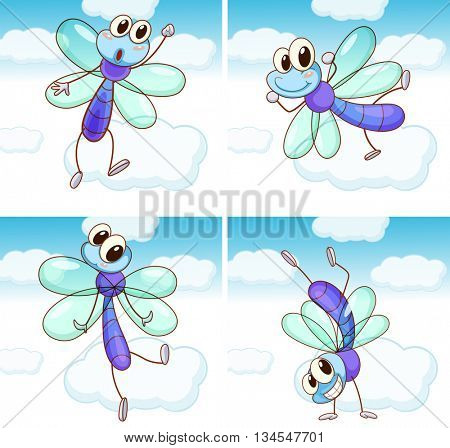 Four scenes of dragonfly flying in sky illustration