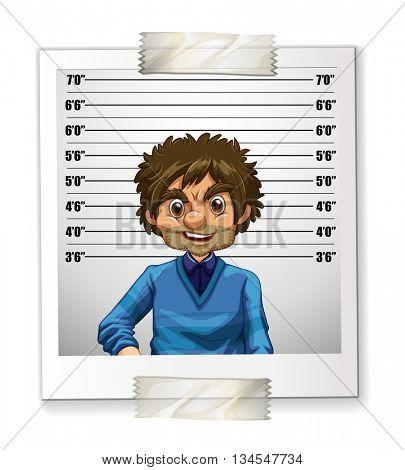 Photo of man on identification card illustration