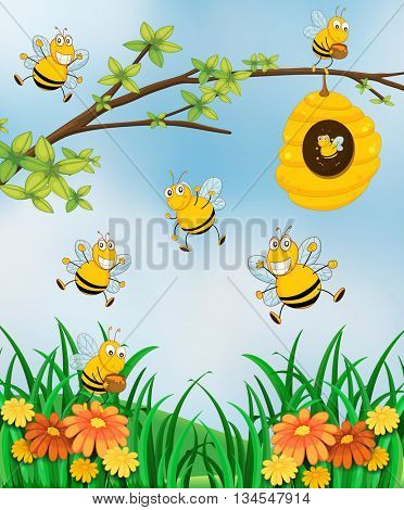Scene with bees and beehive in garden illustration