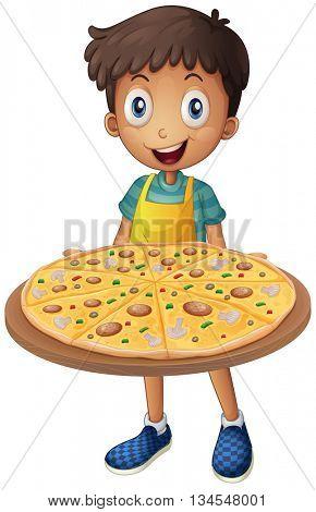 Boy holding tray of pizza illustration