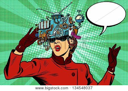 Virtual reality glasses retro girl science fiction, pop art vector. Futuristic mechanism of virtual reality