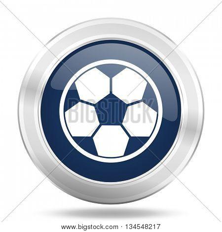 soccer icon, dark blue round metallic internet button, web and mobile app illustration